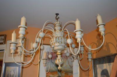 Superbe chandelier 12 feux en pin 1