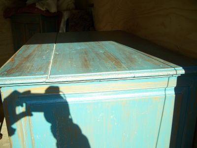 4 door pine cupboard w double raised panels. 7
