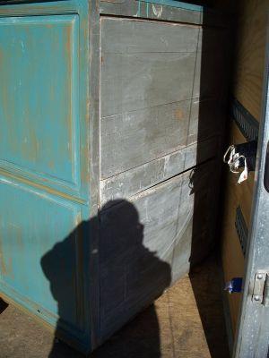 4 door pine cupboard w double raised panels. 8
