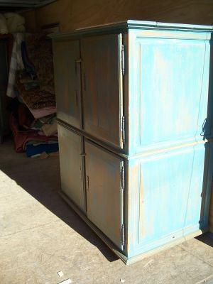 4 door pine cupboard w double raised panels. 1