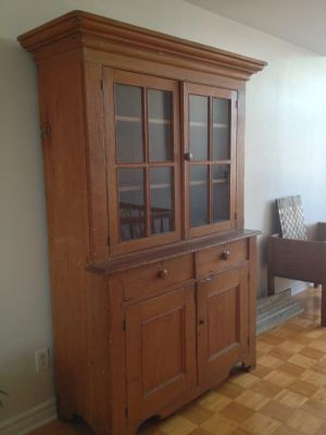 Pine steback buffet with paned window 1