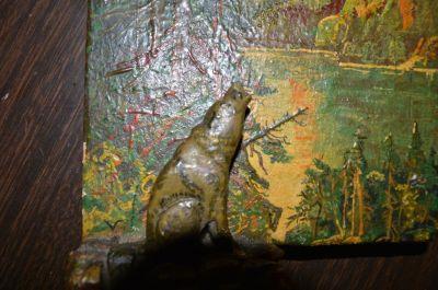 Petite peinture avec sculpture polychrome 9