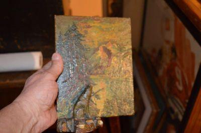 Petite peinture avec sculpture polychrome 6
