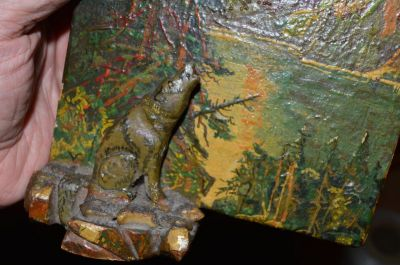 Petite peinture avec sculpture polychrome 2