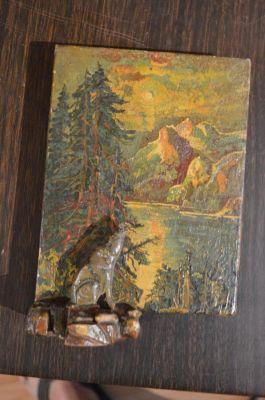 Petite peinture avec sculpture polychrome 4