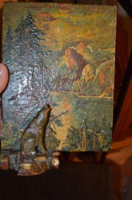Petite peinture avec sculpture polychrome 3