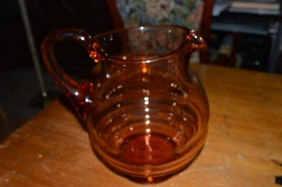 Blown depression glass pitcher 2