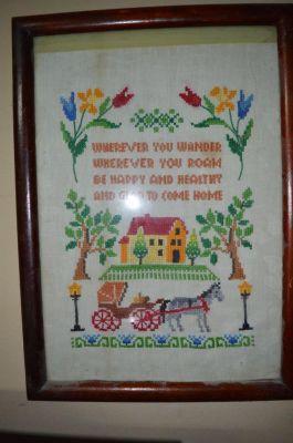 Broderie, panneau du 19e superbe et couleurs vives 2