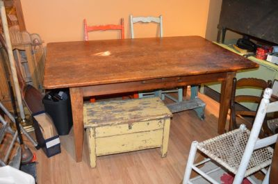 3 boards large top pine table  1