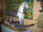 Antiquité Cheval berçant magnifique, Antiquités