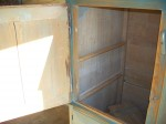 4 door pine cupboard w double raised panels. - Antiques
