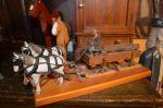 Attelage de chevaux et charge de billots - Antiquités