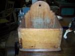 Antiquité Boîte à sel en pin clous carrés , Antiquités