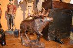 Folk-art moose carving - Antiques